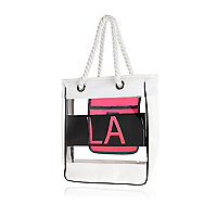 Girls white LA jelly shopper bag