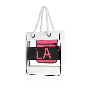 Girls white LA jelly shopper bag