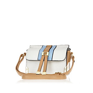 Girls white cross body bag