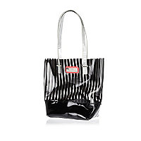 Girls black stripe jelly shopper bag