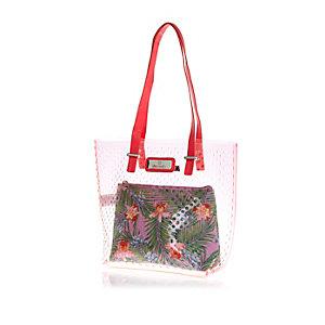 Girls pink floral insert jelly shopper bag