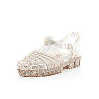 Girls gold glitter jelly sandals