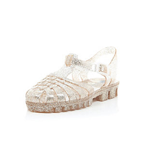 Girls gold glitter jelly sandals