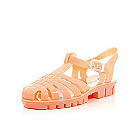 Girls coral flat jelly sandal