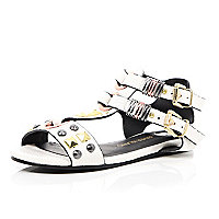 Girls white gold tone stud gladiator sandals