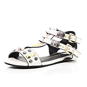 Girls white gold tone stud gladiator sandals