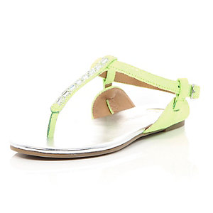 Girls green barley there embellished sandals