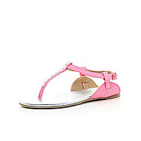 Girls pink embellished sling back sandal