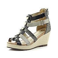Girls black metallic gladiator wedge sandals