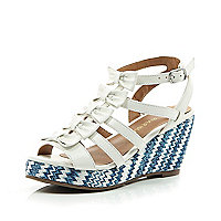 Girls white bow wedge sandals