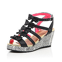 Girls black bow printed wedge sandals