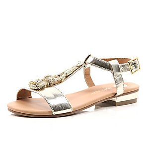 Girls gold rope sandal