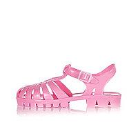 Girls pink flat jelly sandals