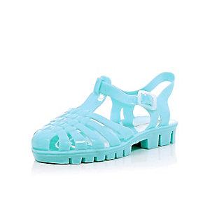Girls green flat jelly sandals