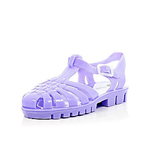 Girls purple flat jelly sandals