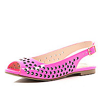 Girls pink sling back ballerina shoe