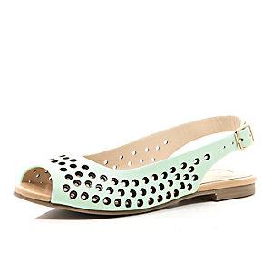 Girls green sling back ballerina shoe