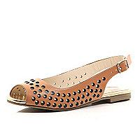 Girls brown sling back ballerina shoe