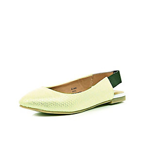 Girls lime pointed sling back ballerina shoe