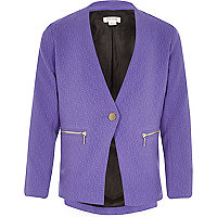 Girls purple long sleeve blazer