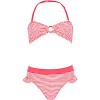 Girls coral stripe ring bandeau bikini