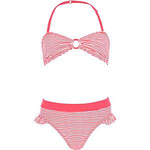 Girls coral stripe ring bandeau bikini