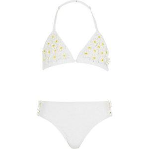 Girls white 3D flower bikini
