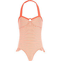 Girls pink stripe bow back swimsuit
