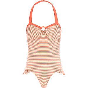 Girls pink stripe bow back swimsuit