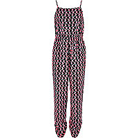 Girls pink spot geometric print jumpsuit