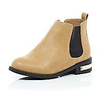 Girls tan gold detail chelsea boot