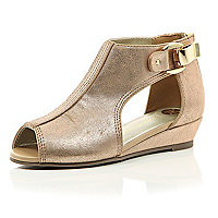 Girls rose gold mini wedge