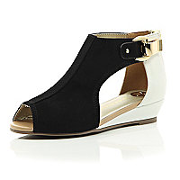 Girls white and black mini wedge