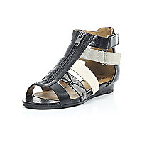 Girls black and metallic gladiator sandal