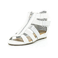 Girls white metallic gladiator wedge