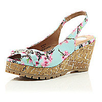 Girls blue floral print wedge sandal