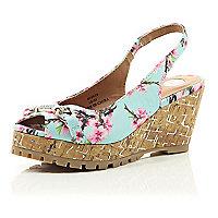 Girls blue floral print wedge sandal