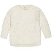 Mini girls cream eyelash jumper