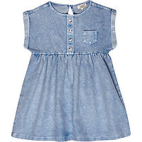 Mini girls blue denim smock dress