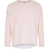 Girls pink chiffon back long sleeve top