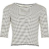 Girls white stripe 3/4 length sleeve top