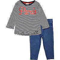 Mini girls stripe Paris and legging outfit