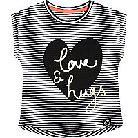 Mini girls love and hugs stripe t-shirt