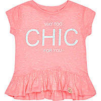 Mini girls pink chic print peplum t-shirt