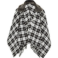Girls black and white check cape