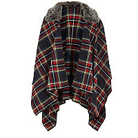 Girls navy check tartan cape
