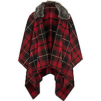 Girls red check tartan cape