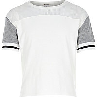 Girls white colour block sporty top