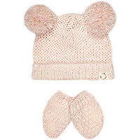 Mini girls light pink pom hat and mitten set