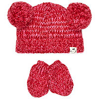 Mini girls dark pink pom hat and mitten set